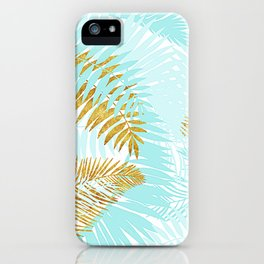 Aloha - Tropical Palm Leaves and Gold Metal Foil Leaf Garden iPhone Case