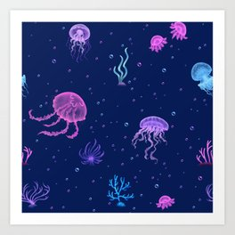 Jellyfish Bubble Sea Art Print