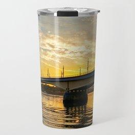 bridge over river against sunset Travel Mug