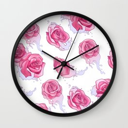 Rose in Pink Water Wall Clock