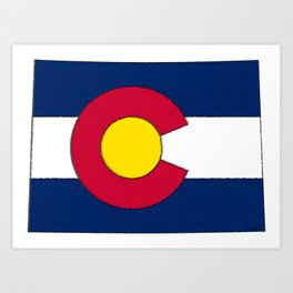 Colorado Map with Coloradan Flag Art Print