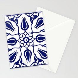 Blue Turkish Traditional Floral Tile Art Stationery Cards