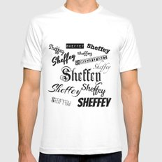 Sheffey Fonts in Black MEDIUM Mens Fitted Tee White