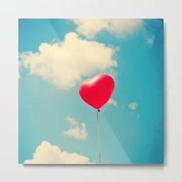 Love is in the air (Red Heart Balloon on a Retro Blue Sky) Metal Print