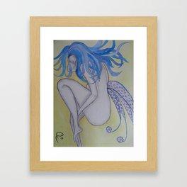 Blue Haired Fairy Framed Art Print