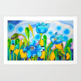 Blue Poppies 1 of Belize Art Print