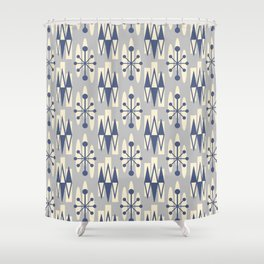 Retro Mid Century Modern Atomic Triangles 722 Blue and Gray Shower Curtain