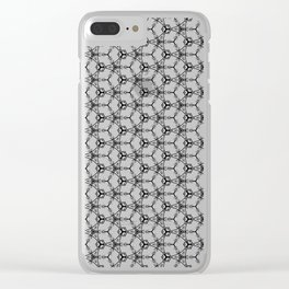 Hex Pattern 65 - White and Black Clear iPhone Case