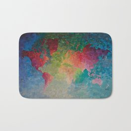 Recycled Color World Map Bath Mat