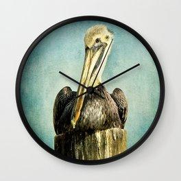 Brown Pelican Art Wall Clock