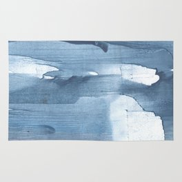 Gray Blue streaked wash drawing painting Rug