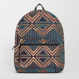 Distressed Triangle and Square with Stripes Digital Illustration - Artwork Backpack