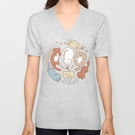 Seven cute cats. Unisex V-Neck