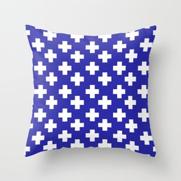 Plus Signs (White & Navy Blue Pattern) Throw Pillow