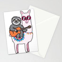 Sloth llama guitar Stationery Cards