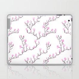 Pink watercolor magnolia pattern Laptop & iPad Skin