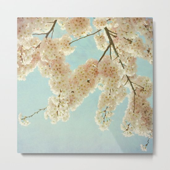 Blue Sky and Blossoms Metal Print