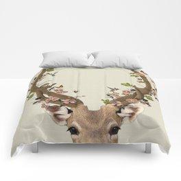 Deer Print, Flower crown, Woodlands Decor, Wall Art, Animals Print, Woodlands Nursery Art Comforters