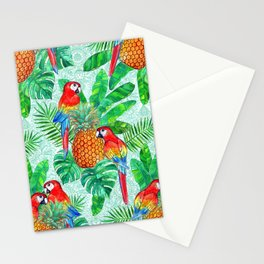 Pineapples and Parrots Tropical Summer Pattern Stationery Cards