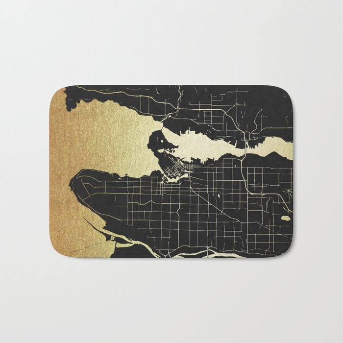 Vancouver Canada Black and Gold Map Bath Mat