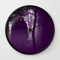 bigfoot Wall Clocks featuring Bigfoot Forest by Paz Art