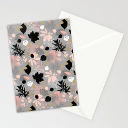 Abstract maple leaves autumn in pink and gray colors Stationery Cards