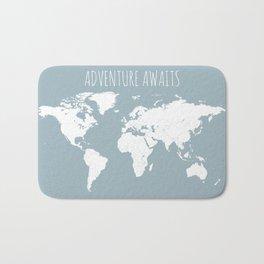 Adventure Awaits World Map in Slate Blue Bath Mat