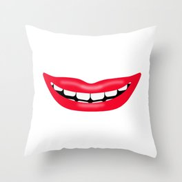 Big Happy Smiling Mouth Throw Pillow