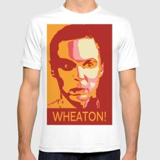 WHEATON! White MEDIUM Mens Fitted Tee
