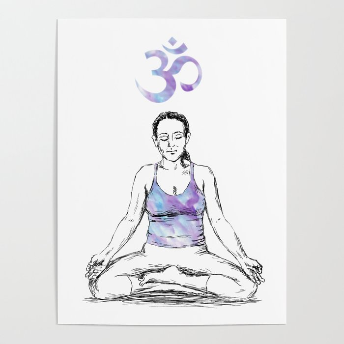 Ohm Meditation drawing Poster by rachelibenaharon