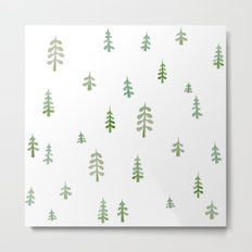 Watercolor pine trees Metal Print