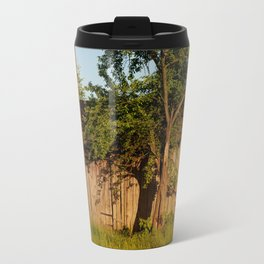 Dilapidated old wooden shack and tree shadow Travel Mug