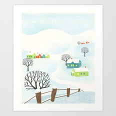 Snowy Little Town Art Print