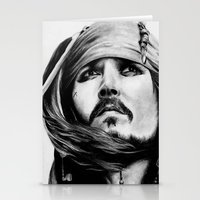 jack sparrow Stationery Cards featuring Jack Sparrow by Gabriel Fox