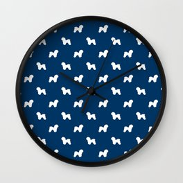 Bichon Frise dog pattern navy and white minimal pet patterns dog breeds silhouette Wall Clock