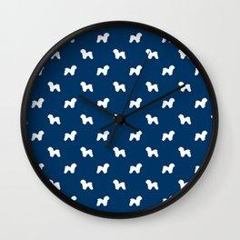 Bichon Frise dog pattern navy and white minimal pet patterns dog breeds silhouette Wall Clock