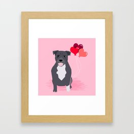 Pitbull love heart balloons valentines day gifts for pibble lovers grey and white Framed Art Print