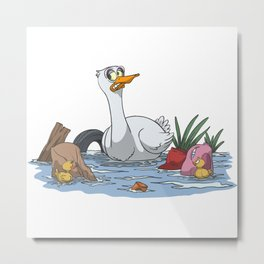 Duck with children in filthy water Metal Print