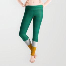 Colorful Bright Minimalist Rothko Minimalist Midcentury Art Marine Green Gold Vintage Pop Art Leggings
