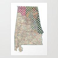 alabama Art Prints featuring Alabama by judy lee