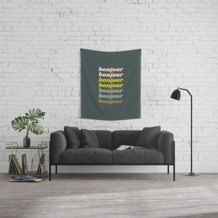 Bonjour in Pretty Pastels Wall Tapestry