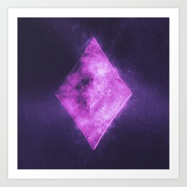 Diamond symbol. Playing card. Abstract night sky background Art Print