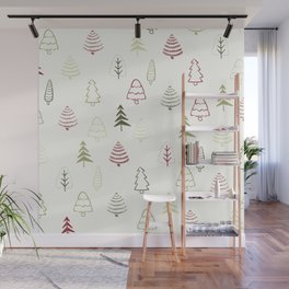 Winter Trees in Snowy Day Wall Mural