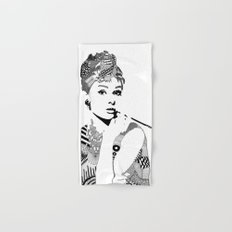 Audrey Hepburn - black and white Hand & Bath Towel