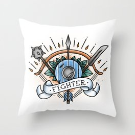 Fighter - Vintage D&D Tattoo Throw Pillow