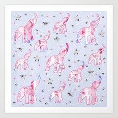 Cute Pastel Tone Elephants Stars Pattern Art Print