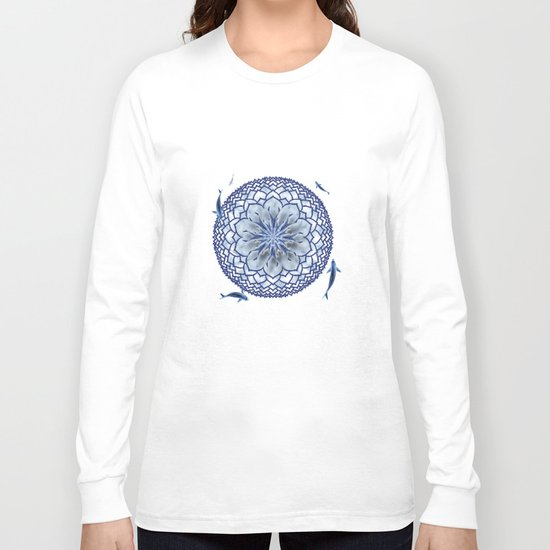 8 Koi Lotus Mandala in Blue Long Sleeve T-shirt