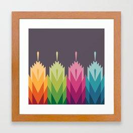 Tribal Feather Pattern Bright Framed Art Print