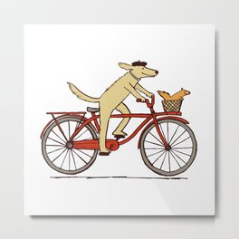 Cycling Dog with Squirrel Friend Metal Print