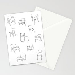 Mid Century Chairs Print Black and white Stationery Cards